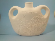 "Bisque Indian Village Jar glazed inside, 9.5"" x 11.5 "" W  (SKU:M-911)"