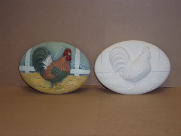 "Bisque Rooster insert, 6"" L x 4"" W  (SKU:MD-2091)"