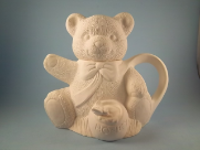 "Bisque Teddy Bear Tea Pot, 7"" T (SKU:AL-1266)"