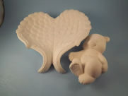 "Bisque Angel  wings dish with sleeping Bear, 9"" T x 9"" W (SKU:D-1472B)"