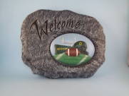 Painted welcome Football Stone