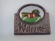 Painted Football insert with welcome sign