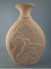 "Bisque Small Humming Bird vase, 8.5""T ( SKU: PT- 1329)"