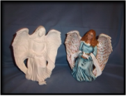 "Bisque Angel Holding Dove, 7"" Tall (SKU:K-3030)"