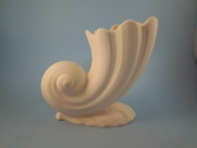 "Bisque Sea Shell Vase note: GLAZED INSIDE,  6"" T  (SKU:49-sea shell )"