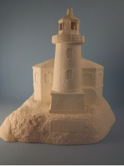 "Bisque Coquille River Lighthouse on base, 9.25"" T x 9"" W (SKU:DH-2348)"