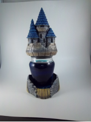 Painted castle Jar candle hold /with out candle