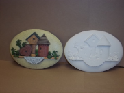 "Bisque Bird Houses Insert, 6""L x 4"" W (SKU:D-1608)"