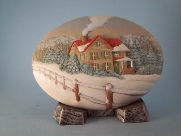 Painted Winter Farm House Insert